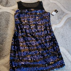 Ladies Party Cocktail Dress Blue Sequin Size 12